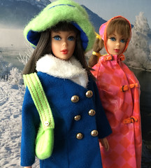 Winter day (Foxy Belle) Tags: mod barbie snow hats brunette vintage doll scene calendar mattel slicker hat drizzle dash 1967