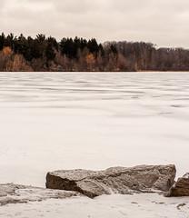View across frozen lake (mpgranger) Tags: winter season snow ice outdoors nature hiking landscape nikon d700 view scene lake rock rocks