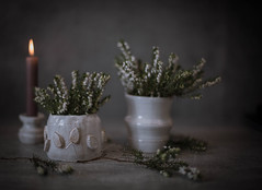 Pottery (V Photography and Art) Tags: pottery ceramics handmade heather flowers home stilllife candle potteryset