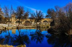Espejos (Walimai.photo) Tags: bridge water puente agua reflejo puentedelcongosto blue sky españa reflection tree azul spain nikon bleu cielo árbol salamanca 35mm nikkor d7000