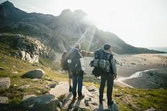 Trekking tour in Norway (lucajaenichen) Tags: adventure norway norge scandinavia portfolio luca jaenichen lofoten hikers commercial outdoor beach mountain ocean
