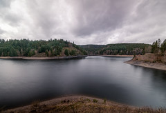Barrier Lake (crrast) Tags: barrier water reservoir artificial dam barrage photo landscape clouds sky hdr ndfilter nd filter trees shore grass nikon d5600 1020 mm lense franconia franken reflection beautiful scenery photography reflections tree wide angle ultra germany wet sticks lake hiking moody gloomy rainy hills hill