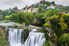 Town of Jajce and Pliva Waterfall, Bosnia and Herzegovina (MostarFP) Tags: town bosnia jajce waterfall landscape cityscape pliva hill medieval green river herzegovina yugoslavia lookout urban scenery gorge village building bosnian sightseeing forest federation heritage balkans architecture city fall rural house scenic cascade ancient nature eastern europe yugoslavian rustic townscape bosniaandherzegovina bosniaherzegovina vrbas