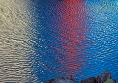 VVaves (L@nce (ランス)) Tags: reflection waves water sea innerharbour ripples red white blue fishermanswharf victoria britishcolumbia nikon