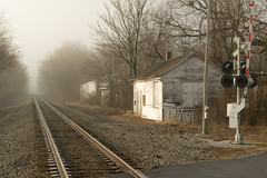 20-211 (George Hamlin) Tags: virginia white post railroad station norfolk southern railway crossing signal grade crossbucks building misty morning track trees bare winter sky gray photodecor george hamlin photography