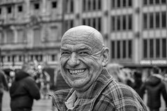 THE UNEXPECTED PORTRAIT (NorbertPeter) Tags: man street people portrait unexpected spontaneous city urban outdoor cologne köln germany streetphotography streetportrait fujifilm xt2 monochrome blackandwhite bw