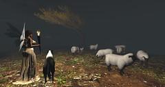 Avilion Loch (Osiris LeShelle) Tags: secondlife second life avilion loch medieval fantasy roleplay brdige rain autumn sheep herd dog shepherd checking osiris leshelle torch