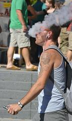 Vaping (Scott 97006) Tags: man guy puffing inhaling tattoo vapors