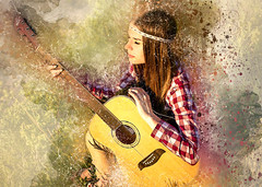 Girl Female Person Adult Guitar Edited 2020 (chocolatedazzles) Tags: girl female person adult guitar music instrument summer season people young lifestyle attractive digitalmanipulation photoart sitting
