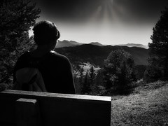 Blick in die Ferne - Looking into the world (PHOTOGRAPHY Toporowski) Tags: blue autumn trees light sky bw orange abstract tree nature yellow clouds landscape outside blackwhite herbst dramatic himmel wolken struktur unesco berge national sw landschaft dolomites stimmung abstrakt dolomiten dramatisch madewithluminar mountains hill blick view