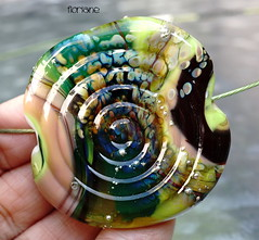 Floriane (Laura Blanck Openstudio) Tags: openstudio openstudiobeads handmade lampwork glass murano beads single focal bead big holes huge flat shiny bold fine art arts artist artisan made usa jewelry necklace pendant boutique abstract asymmetric earthy organic nugget rock pebble stone choker boho bohemian urchin flower swirl lucky charm raku lime green pea frit gray peach rose orange coral yellow ocher transparent violet plum grape purple eggplant red forest jungle blue black teal aqua turquoise