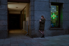 (Ktoine) Tags: pharmacy people street cigarette alone smoking moscow russia mood light hands legs