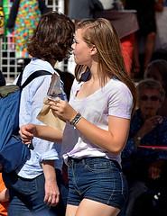 Yum Yum (Scott 97006) Tags: woman female lady blonde shorts beauty icecream chocolate beautiful