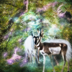 Fantastical Woodland (larwbuck) Tags: animals antelope artistic composite effects elements fantasy forest painterly textures travel wildlife woods