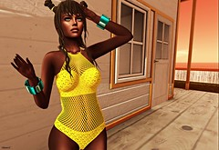 Waiting for the Sun! (kare Karas) Tags: woman lady femme girl girly sweet cute beauty pretty sensual sexy seduce seductive crazy fun spam spammer blogger blog desuigners events january secondlife sl virtual avatar colors huds appliers bento mesh outdoors bikini skin bom bracelets egozy eve zephyr ebentoevent