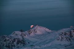 Blue hour moonrise (lucajaenichen) Tags: alps winter snow moon moonrise blue hour luca jaenichen portfolio landscape night mountains ski sunset