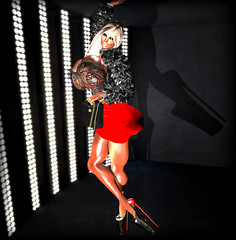 highlight (◣◥ SID⚥STYLE ◣◥) Tags: 3d second life sl sidalex shelman sid style high heels platform shoes extreme red skirt fur throphy wife sugar daddy bimbofication ts trangender shemale busty curves fake