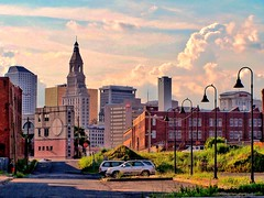 """Hartford Connecticut  - View from The Former Colt Armory  - (Onasill ~ Bill Badzo - New Format) Tags: hartford ct connecticut """"new england"""" """"colt gateway"""" colt armory nrhp us national historic landmark historical complex manufacturing co coltsville district clouds sky spectacular adaptive reuse guns pistol blue onion america dome firearms state capitol insurance red umbrella"""