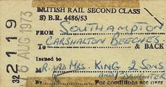 Free Pass (Living in Dorset) Tags: edmondson ticket britishrail southampton carshaltonbeeches 1973 uk gb