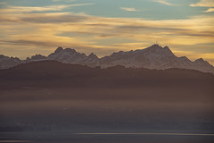 mountain range (crazyhorse_mk) Tags: säntis bodensee lakeconstance lake mountain germany switzerland sky clouds sunset evening mountainrange range silhouette