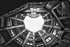 Casa Mila (Sean X. Liu) Tags: casamila anitonigaudi spain barcelona blackandwhite monochrome blackwhite lookup