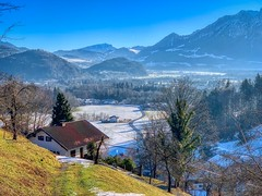 Winter landscape of Niederaudorf in the river Inn valley, Bavaria, Germany (UweBKK (α 77 on )) Tags: winter frost snow cold landschaft landscape scene scenery scenic view mountain tree forest river inn valley niederaudorf bavaria bayern germany deutschland europe europa iphone