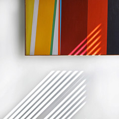 light imitates art (clementines71) Tags: stripes painting art light lines abstract shapes diagonal geometric color square home wall happy colours colors bedroom blinds primary shadow rosenblum contemporary modern bronx colorblockpainting