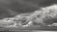 Trois (L@nce (ランス)) Tags: cloud cloudy clouds sky skyscape stormy storm sea salishsea pacific ocean ship juandefuca victoria canada