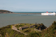 Photo of Fishguard Fort & a boat bound for Ireland. Wales