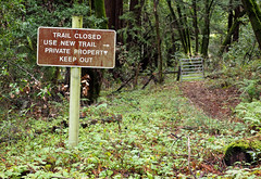 Old trail (LeftCoastKenny) Tags: phlegerestate huddartcountypark trees brush ferns fence gate sign text