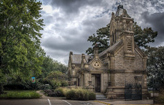 Historic Office and Main Gate at Spring Grove Cemetery (donnieking1811) Tags: ohio cincinnati springgrovecemetery architecture building gate stone signs exterior outdoors sky clouds trees sidewalks hdr canon 60d lightroom photomatixpro