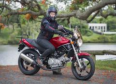 her own (gnarlydog) Tags: petra motorcycle rider australia vtwin honda hondavtr250