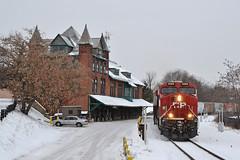 CP 350 Plattsburgh (ERIE1960) Tags: railroad trains locomotive canadianpacific delawareandhudson dh plattsburgh railroadstation ge es44ac canadianrailroads newyorkrailroads trainsinsnow railfan freighttrain