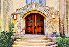 The Portal (Terry Pellmar) Tags: texture digitalart digitalpainting doors church entry building stairs