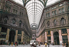 Naples, Italy, 1980s slide (lumierefl) Tags: naples napoli campania italy europe architecture building commercial business shoppingmall shoppinggallery skylight 1890s 20thcentury