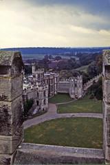 Gathering Clouds, Warwick Castle (AntyDiluvian) Tags: england uk unitedkingdom vintage 1973 1970s castle warwickcastle tower battlements