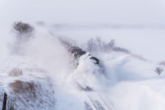 Snowdrifts in Eden Valley (shawn_christie1970) Tags: watkins minnesota unitedstatesofamerica cp6644 snow train railroad winter dday emd sd70acu cppaynesvillesub cp580 military blizzard cold