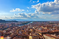 Roofs-of-Firenze (Nualchemist) Tags: roofsoffirenze rooftopview highangle firenze italy toscana palazzovecchio museifirenze turismoitalia turismofirenze sunny panoramic bluesky clouds travelphotography cityscapephotography redroofs bright fiumearno pontevecchio daylight wideangle