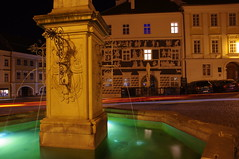 2016-11-07_21-20-16_Pentax_JH (Juhele_CZ) Tags: mikulov moravia czechrepublic houses architecture historical hill nature fountain water night square town