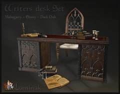 Writers Desk Set (Casey Tripsa) Tags: desk writer write scribe renaissance modern classic furniture accessories décor candle gold copper black wood second life secondlife laminak scroll books coins pouch pouches wax set castle vintage medieval gothic pirate roleplay antique writing