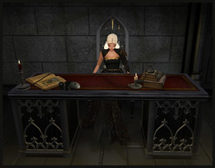 Writers Desk Set ~ Ebony Wood (Casey Tripsa) Tags: vintage medieval gothic pirate roleplay antique desk write writer scribe renaissance modern classic furniture accessories décor candle gold copper black wood second life secondlife laminak scroll books coins pouch pouches wax set castle writing