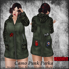 Tastic-Camo Punk Parka! (Spanky SL *Owner of Tastic store*) Tags: tastic store camo parka punk style green black new designer blogger creator truth hair catwa white inside outside old vendor jacket womens female maitreya belleza slink altamura ebody tmp flickr photo sl secondlife mesh bento avatar virtual