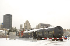 Two tank cars (Michael Berry Railfan) Tags: cn canadiannational wharfspur portofmontreal oldport oldmontreal montreal train freighttrain gp9 emd gmd