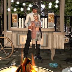 Hot chocolate to keep me warm. (Teddi Beres) Tags: second life sl virtual screenshot black blonde girl woman man love romance sweet nice chocolate winter snow fire friend shoe boots fashion style