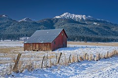 Barn Winter Mountains 8280 A (jim.choate59) Tags: jchoate on1pics winter snow mountains barn rural decay weatheredwood enterpriseoregon fence cold d610 josephoregon scenic hff