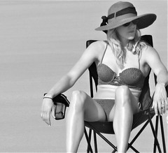 Big sunhat (thomasgorman1) Tags: beach sunhat woman bikini island molokai hawaii travel bw monochrome portrait public candid