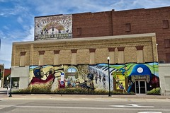 Mural and Ghost Sign, Marshall, MN (Robby Virus) Tags: marshall mn minnesota greg wimmer mural street artist ghost sign signage faded forgotten painted wall ad advertisement peterson pianos organs guitars amplifiers records