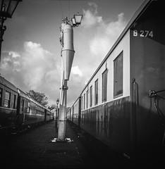 Water Refill Station Lieren (Ric Evers) Tags: blackandwhite mediumformat rolleiflex35 gelderland steamtrain station bw netherlands