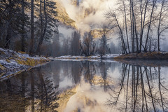 Merced River Reflections II - Yosemite Valley (phonnick) Tags: canon eosr yosemite yosemitenationalpark nationalpark california merced river water reflection landscape mountains clouds fog valley trees winter snow mirrorless