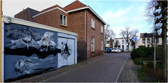 Garage Painting (pvl83) Tags: house building street garage mural wallpainting cloud oldenzaal xt20 whiteframe pnrm tree sign